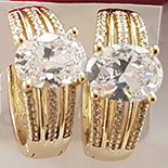 Cercei in culoarea aurului 14K zirconii albe - ZS638