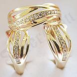 Bijuterii Inox - Set inel si cercei aurit cu aur de 14K - ZS1137