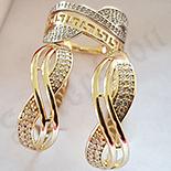 Set inel si cercei aurit cu aur de 14K - ZS1138