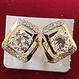 Cercei auriti cu aur 14K si zirconii albe - ZS1114