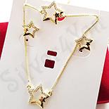 Set cercei, colier si bratara aurit cu aur 14K zirconii albe - ZS1149