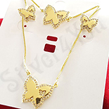 Set cercei, colier si bratara aurit cu aur 14K zirconii albe - ZS1152