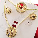 Set cercei, colier si bratara aurit cu aur 14K zirconii albe - ZS1159
