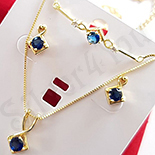 Set cercei, colier si bratara aurit cu aur 14K zirconii albastre - ZS1163