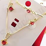 Bijuterii in Culoarea Aur 14K - Set cercei, colier si bratara aurit cu aur 14K zirconii rosii - ZS1171