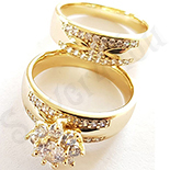 Set verigheta si inel aurit cu aur 14K si zirconii albe - ZS1173
