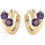 Cercei in culoarea aurului 14K zirconii violet - copii - ZS935