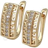 Cercei in culoarea aurului 14K zirconii albe - ZS937