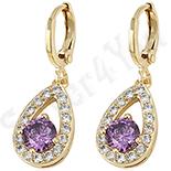 Cercei in culoarea aurului 14K zirconii violet - ZS938