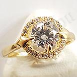 Inel in culoarea aurului 14K zirconii albe - ZS553