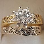Inel in culoarea aurului 14K zirconii albe - ZS503