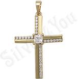PANDANTIVE - Cruce aurita cu aur de 14K si zirconii albe - ZS1003