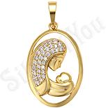 Cadouri Femei 1-8 Martie - Pandantiv aurit cu aur de 14K mama si copilul - ZS1005