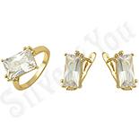 REDUCERI - Set inel si cercei in culoarea aurului 14K zirconii albe - ZS1021