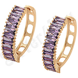 Cadouri Femei 1-8 Martie - Cercei auriti cu aur roz si zirconii violet - ZS1030