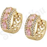 Cadouri Femei 1-8 Martie - Cercei in culoarea aurului 14K zirconii roz - ZS1040