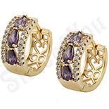 Cadouri Femei 1-8 Martie - Cercei in culoarea aurului 14K zirconii violet - ZS1041