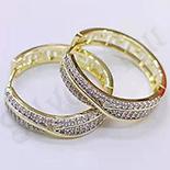 Cercei in culoarea aurului 14K zirconii albe - 2.6 cm - ZS1055
