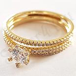 Cadouri de Craciun - Set 2 inele aurite cu aur de 14K si zirconii albe - ZS1079