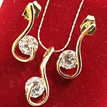Set cercei, pandantiv si lant in culoarea aurului 14K zirconii albe - ZS750A