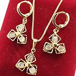 Cadouri Femei 1-8 Martie - Set cercei, pandantiv si lantisor in culoarea aurului 14K zirconii albe - ZS759A