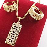 Bijuterii Inox - Set cercei, pandantiv si lantisor in culoarea aurului 14K - ZS650A