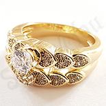 Cadouri de Craciun - Set inele aurite cu aur de 14K si zirconii albe - ZS111A