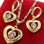 Set cercei, pandantiv si lant in culoarea aurului 14K zirconii roz - ZS762A