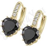 Cadouri Femei 1-8 Martie - Cercei in culoarea aurului 14K zirconii negre - ZS1209