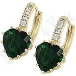 Cadouri Femei 1-8 Martie - Cercei in culoarea aurului 14K zirconii verzi - ZS1207
