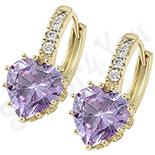 Cadouri Femei 1-8 Martie - Cercei in culoarea aurului 14K zirconii lila - ZS1205