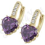 Cadouri Femei 1-8 Martie - Cercei in culoarea aurului 14K zirconii violet - ZS1206