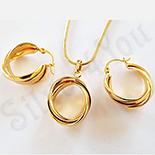 Cadouri Femei 1-8 Martie - Set cercei, pandantiv si lant in culoarea aurului 18K - ZS1219A