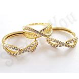 Bijuterii Inox - Set inel si cercei in culoarea aurului 14K zirconii albe - ZS1263