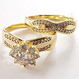 Set verigheta si inel in culoarea aurului 14K zirconii albe - ZS1267