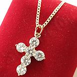 Cadouri Femei 1-8 Martie - Pandantiv cu lant in culoarea aurului 14K zirconii albe - ZS1321