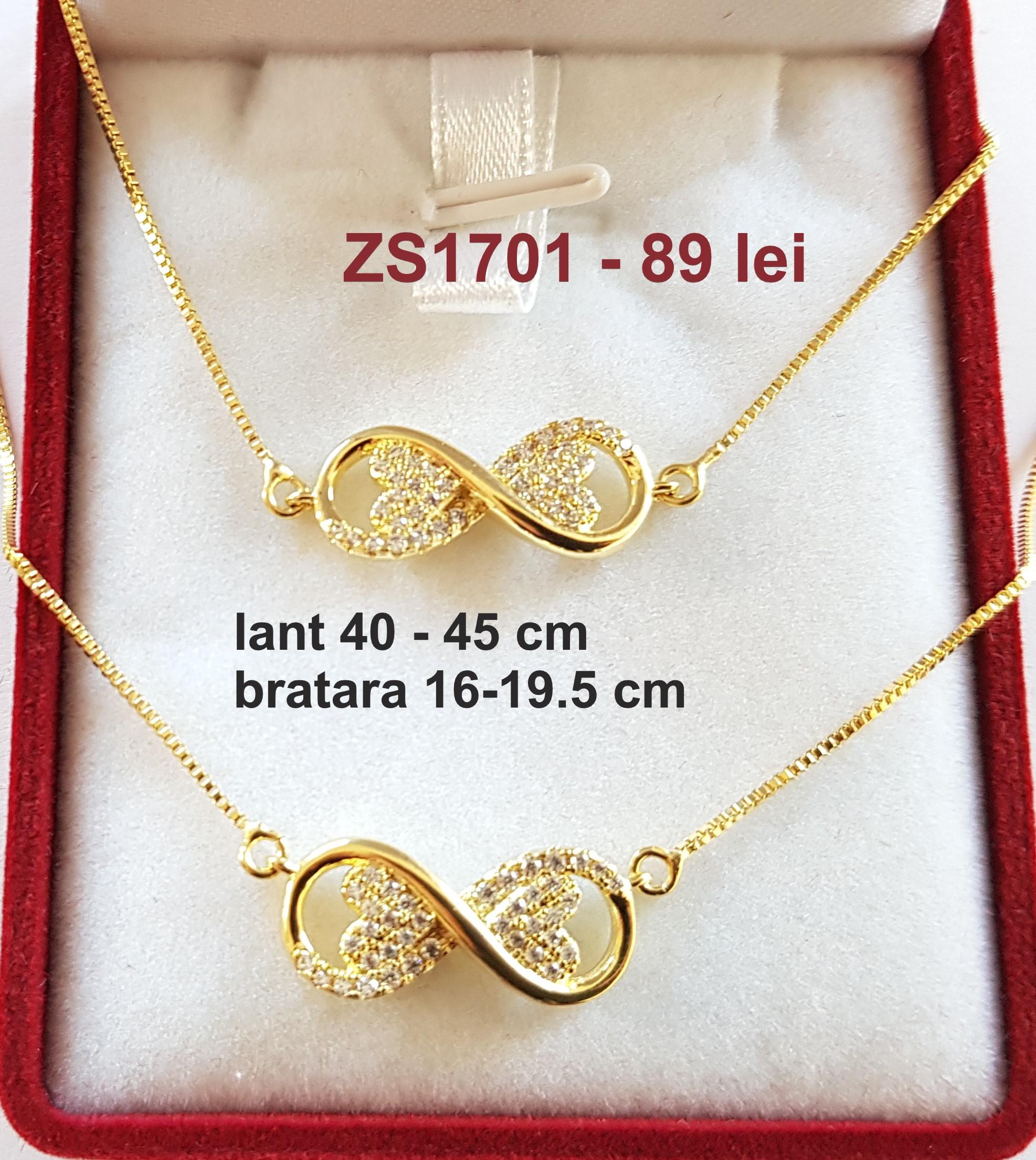 Set lant si bratara in culoarea aurului 14K zirconii albe - ZS1701